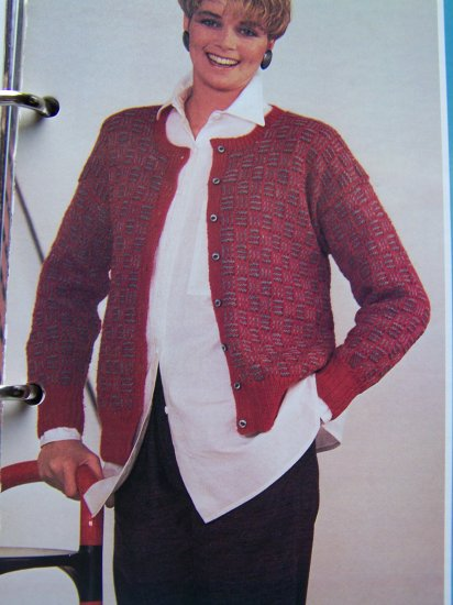 USA 1 Cent S&H  Vintage Lady's Cardigan Sweater Knitted in Slip Stitch Knitting Pattern