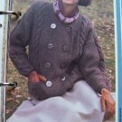 Vintage Ladies Moss Stitch Double Breasted Sweater Jacket Knitting Pattern US 1 Cent S&H