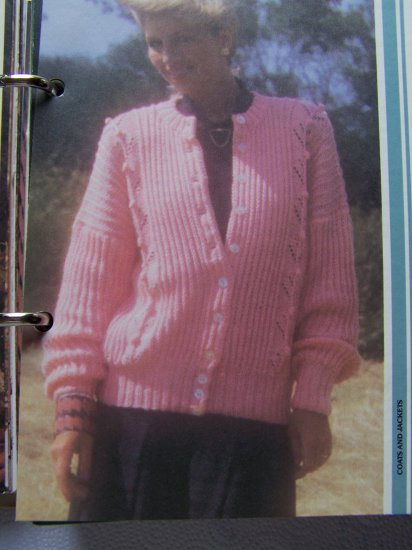80's Vintage Knitting Pattern XL XXL Ribbed Sweater Jacket with Lacy Panel USA 1 Penny S&H