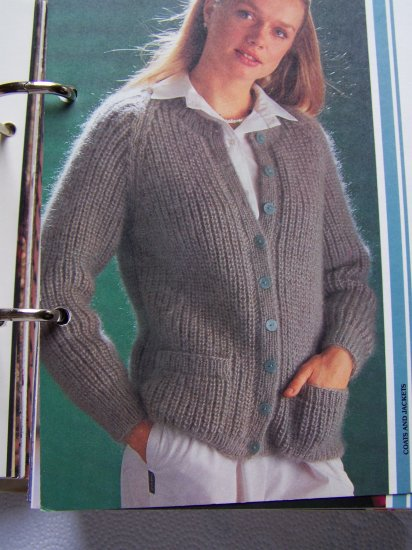 1 Cent S&H Vintage Misses Fisherman's Rib Cardigan Sweater Jacket Knitting Pattern