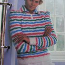 80's Misses Striped Sweater 2 Button Collar Knitting Pattern 1 Cent USA S&H