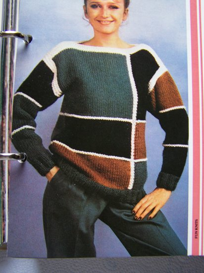 USA 1 Cent S&H  Vintage Knitting Pattern 1980's Geometric Boat Neck Sweater