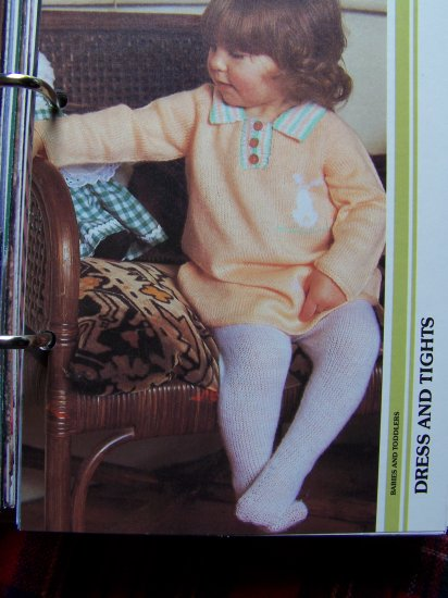 Knitted Baby Dress and Winter Tights Knitting Pattern Sz 6 12 Months 2 - 3 years