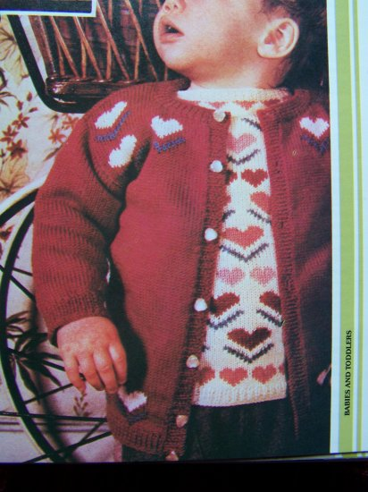 Knitting Patterns Toddlers 1 2 Years Matching Heart Pullover and Cardigan Sweater Set