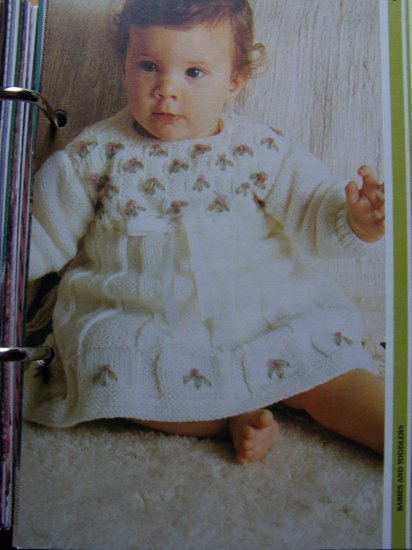 USA 1 Cent S&H  Baby and Toddler Knitted Embroidered Dress Vintage Knitting Pattern