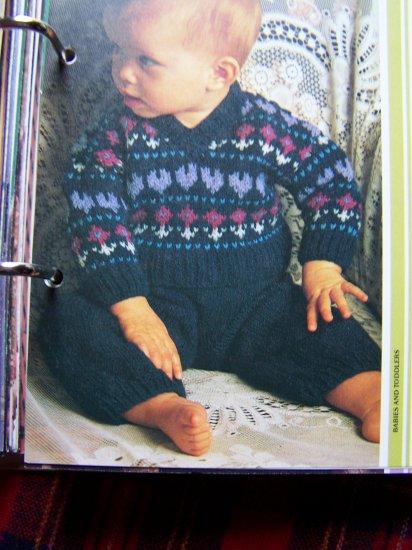 Vintage KNitting Pattern Babies Newborn to 9 Months Cardigan Sweater and Pants Set