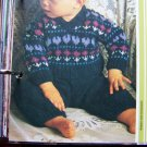 Vintage KNitting Pattern Babies Newborn to 9 Months Cardigan Sweater and Pants Set