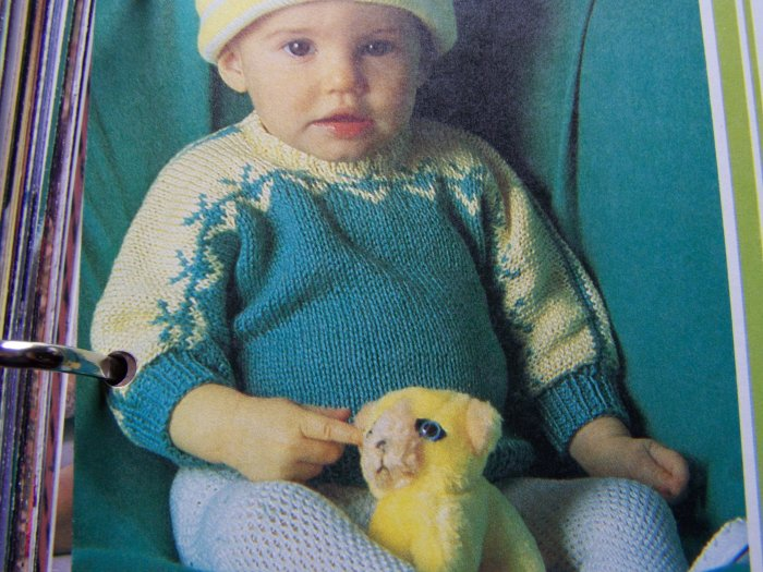 1 Cent USA S&H Vintage Baby's Cotton Sweater Knitting Pattern 3-5 6-12 months Toddler 2 3