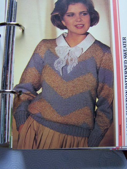 US 1 C S&H  Vintage 80's Knitting Pattern Misses Pullover Chevron Patterned Sweater