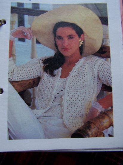 US 1 Cent S&H Vintage Lightweight Sweater Jacket Crochet Pattern Bust 38 40 42