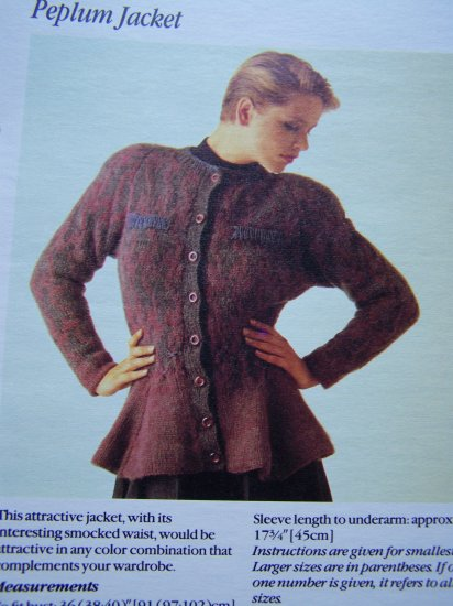 USA 1 Cent S&H Vintage Peplum Smocked Waist Sweater Jacket Knitting Pattern
