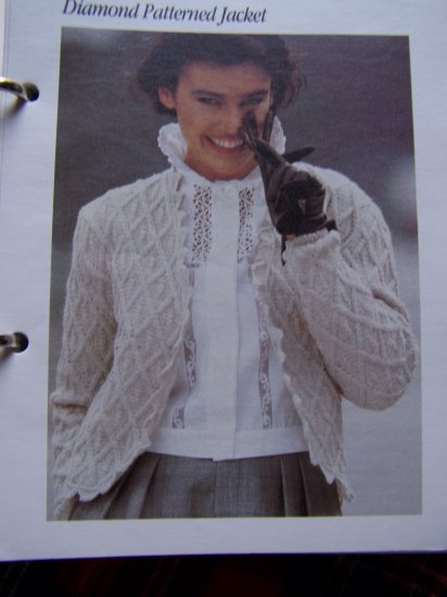 USA 1 Cent S&H 1980's Vintage Knitting Pattern Diamond Patterned Sweater Jacket