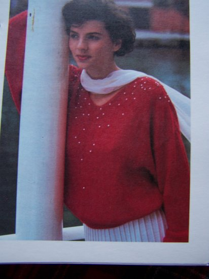 Beaded Evening Pullover Knitted Sweater Beads & Pearls Vintage Knitting Pattern