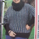 1 Cent USA S&H 80's Vintage Knitting Pattern Misses Vertical Stripe Boucle Sweater