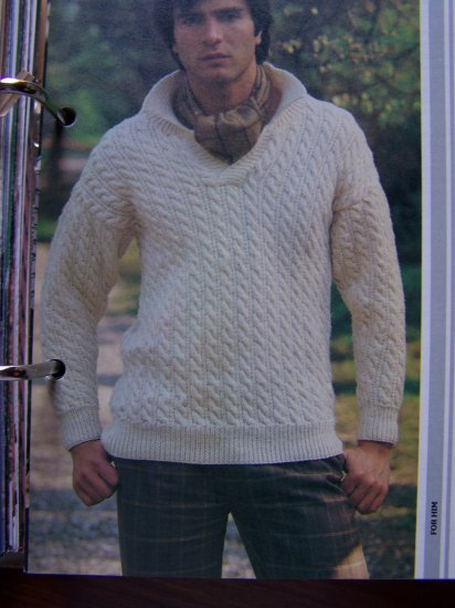 US 1 Cent S&H Men's Open Neck Knitted Cable Knit Sweater Knitting Pattern
