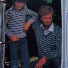 US 1 C S&H  Vintage Knitting Patterns Father and Son V Neck Pullover Sweaters
