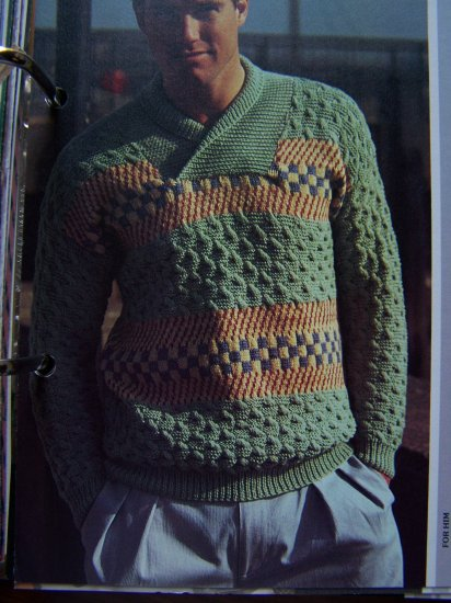 Mens Fair Isle and Cable Knit Pullover Sweater Knitting Pattern USA Shipping Special