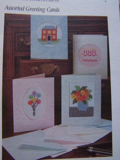 4 Cross Stitch Patterns Assorted Greeting Cards Embroidery Pattern Lot USA 1 Cent S&H