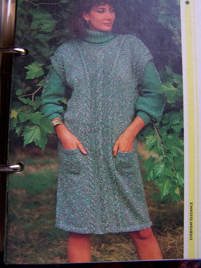 2 Vintage Knitting Patterns Ladys Cable Sleeve Sweater & Tunic Jumper Dress
