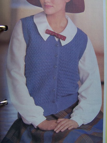 USA 1 Cent S&H Tweed Stitch Knitting Pattern Mens Womens Cardigan Vest
