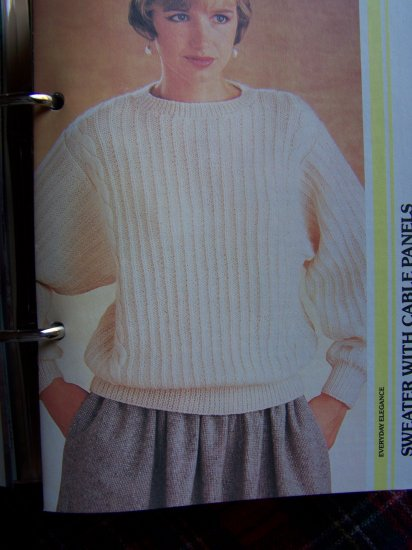 Womans Vintage 80's Knitted Sweater Pattern Pullover Cable Panel US 1 Cent S&H