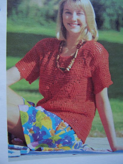 Queen of Diamonds Pullover Sweater Vintage Crochet Pattern USA 1 Cent S&H