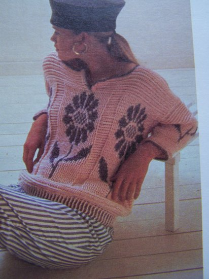 USA 1 Cent S&H Vintage Crochet Pattern Ladies Big Daisy Pullover Sweater