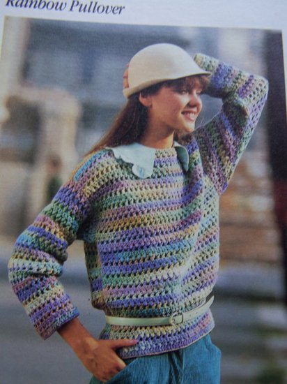 USA S&H 1 Cent Rainbow Pullover Crocheted Sweater Vintage Crochet Pattern