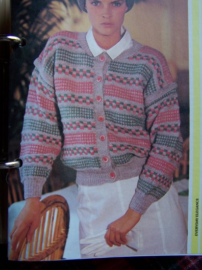USA 1 Cent S&H Vintage Knitting Pattern 3 Patterned Cardigan Sweater