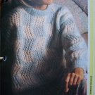 USA 1 Cent S&H Vintage Mohair Checked Pullover Sweater Knitting Pattern