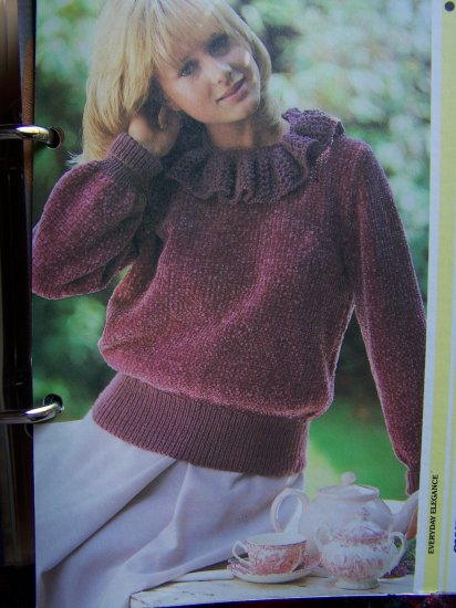 USA 1 Cent S&H Vintage Chenille Ruffled Collar Pullover Sweater KNitting Pattern