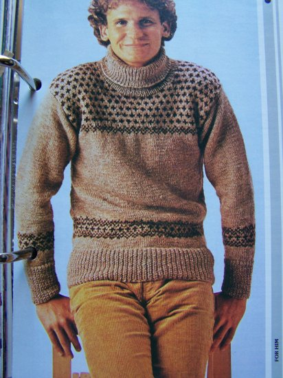 USA 1 Cent S&H Men's Vintage Fair Isle Pullover Sweater Knitting Pattern
