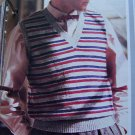 1 Cent USA S&H Man's Striped V Neck Sweater Vest Knitting Pattern
