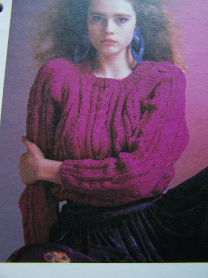 1 Cent USA S&H Vintage Cable Medley Pullover Knitted Sweater Pattern 1980's