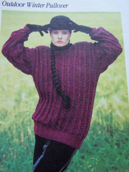USA 1 Cent S&H Ladys Big Bulky Pullover Sweater Vintage Knitting Pattern