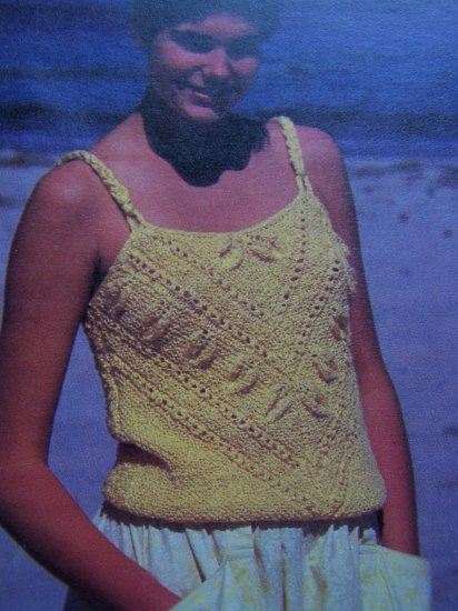 1 Cent S&H USA Hand Knitted Ladies Camisole Sweater Vintage KNitting Pattern