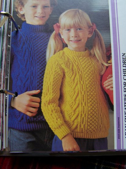 Vintage Children's Knitting Patterns Aran Pullover Sweaters Boys & Girls