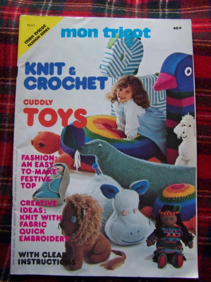 Vintage 70's Mon Tricot Crochet & Knitting Patterns Dress Stuffed Toys Animals Dolls