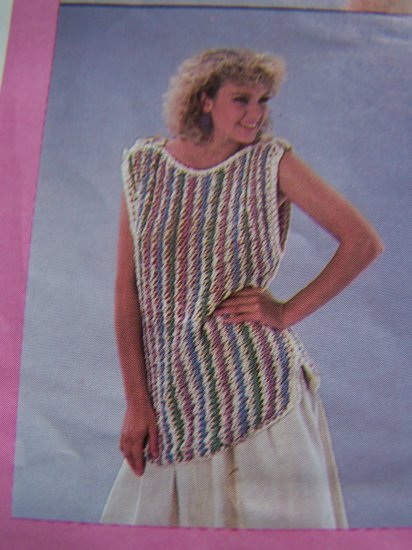 USA 1 Cent S&H Vintage 80's Womens Knit Tabard Sweater Knitting Pattern S M L