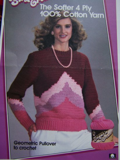 1 Cent USA S&H Lily Vintage 80's Cotton Crochet Pattern Womans Patterned Sweater