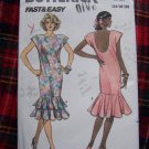 Vintage Sewing Pattern 5651 Slim Wiggle Dress Deep U Back Flounce Hem 14 16 18