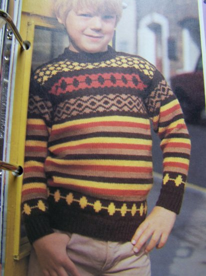 USA 1 Cent S&H Kids Vintage Knitting Pattern Pullover Jacquard Sweater