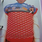 Vintage Boys Girls Sleeveless Sweater Top Knitting pattern House Tree Scene