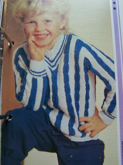 S&H 1 Cent USA Boys Vintage Knitting Pattern Cable Striped Pullover Sweater