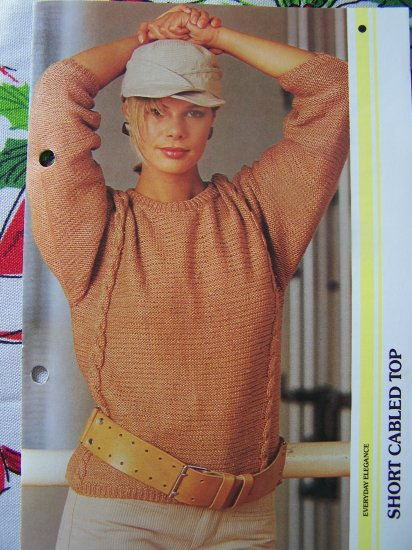 1980's Vintage Knitting Pattern Misses Short Cabled Sweater Top