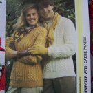 Vintage His and Hers Matching Sweaters with Cable Fronts Knitting Patterns