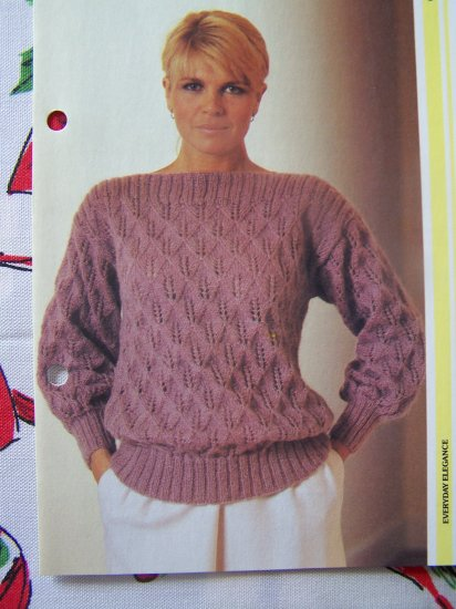 80's Ladys Candle Motif Mohair Pullover Vintage Sweater Knitting Pattern