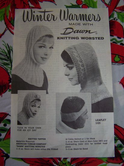 Vintage American Thread CO Knitting Patterns Winter Warmers Helmet Head Toppers