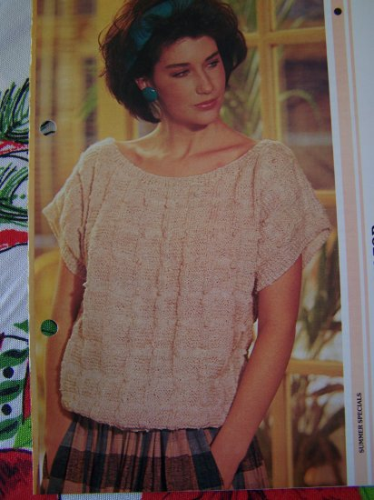 USA 1 Cent S&H 80's Vintage Summer Textured Linen Look Sweater Top Knitting Pattern