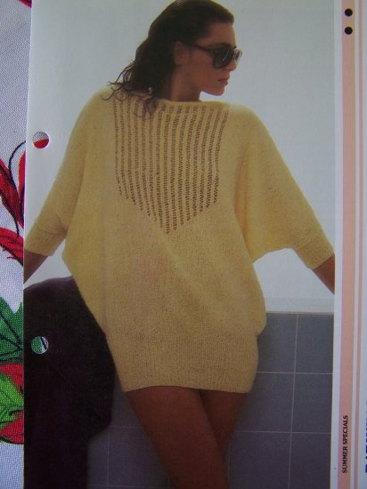 1 Cent S&H USA Vintage Knitted Bat Wing Beach Cover Up Top Knitting Pattern